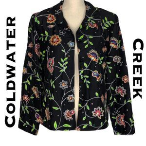Coldwater Creek Black Floral Silk Blazer Size 12